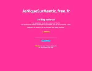 "Le blog ""JeNIqueSurMeetic"" dans sa version d'origine"