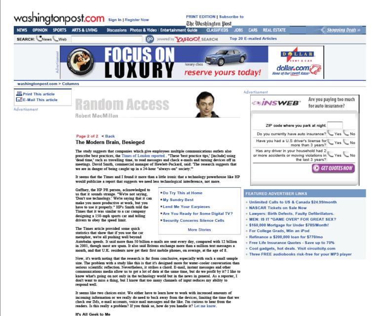 Interview et article Washington Post (25/04/05)